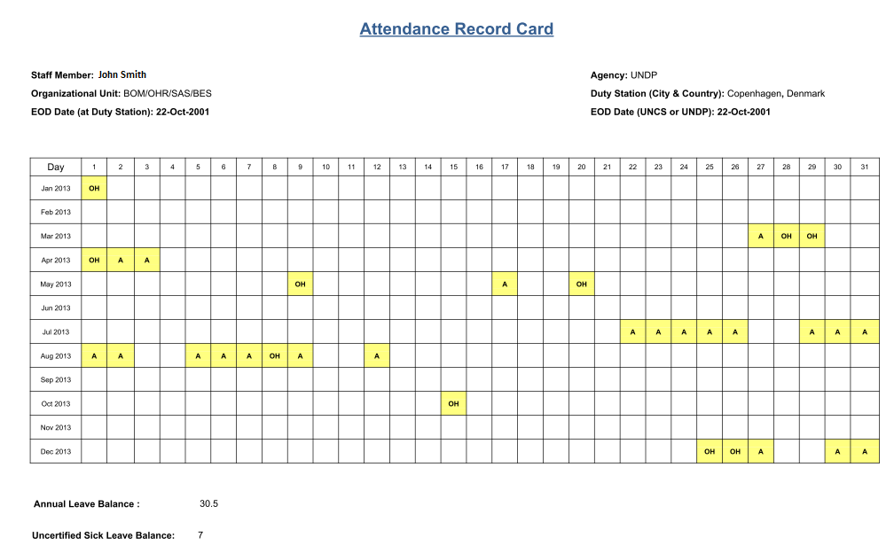 can i print my own attendance record card